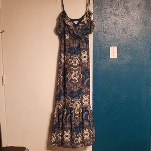 NWOT Teal Cold Shoulder Maxi Dress